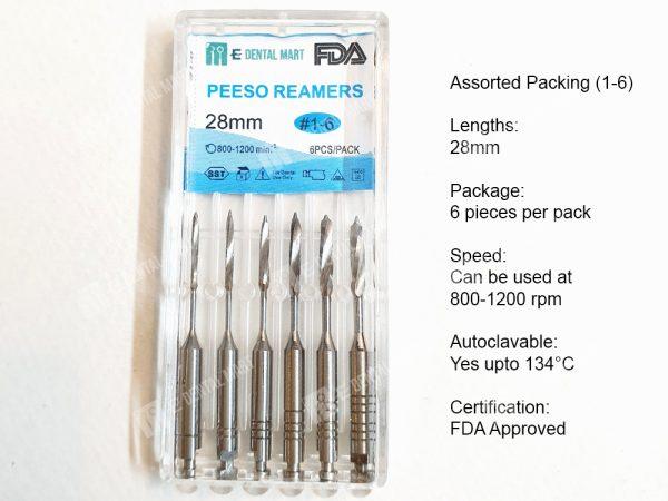 Peeso Reamers, Peeso Reamers Endodontics, Stainless Steel Engine Reamers, Peeso Reamers for Root Canals, Buy Peeso Reamers Online in Pakistan